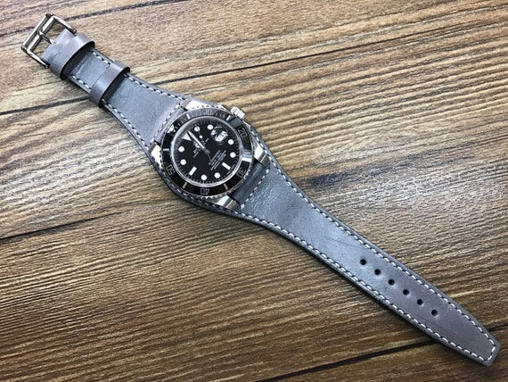 Leather watch band, Gray Watch band, Full bund strap, Leather Cuff watch Strap 20mm, Racing Watch strap, Rally Watch Band, FREE SHIPPING