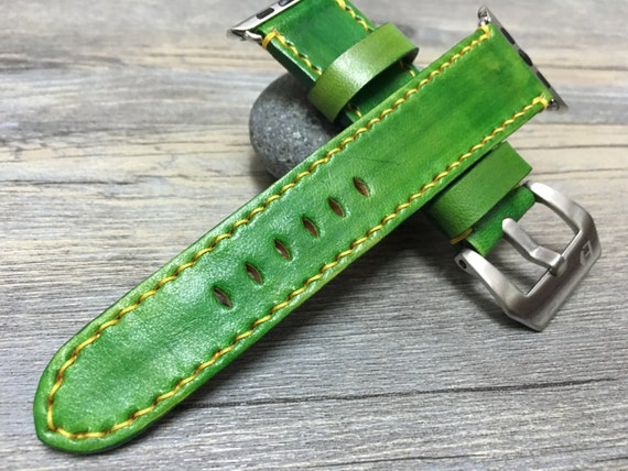 Apple Watch Band | Apple Watch Strap | Fresh Green Leather Watch Strap For Apple Watch 38mm & Apple Watch 42mm - Series 1 and Series 2