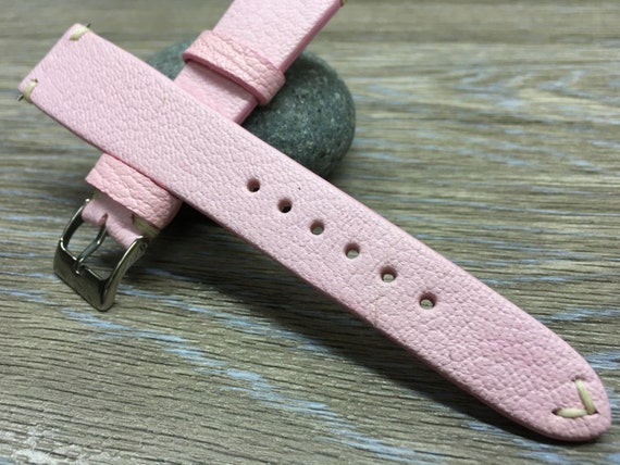 Real Leather watch Strap   Leather watch band   vintage look  Strap (pink colour, cream white Stitching) - 18mm/19mm/20mm watch strap