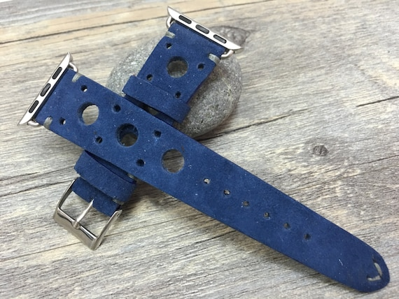 Apple Watch Band | Apple Watch Strap | Suede Blue Racing Straps or Rally Straps For Apple Watch 38mm & Apple Watch 42mm