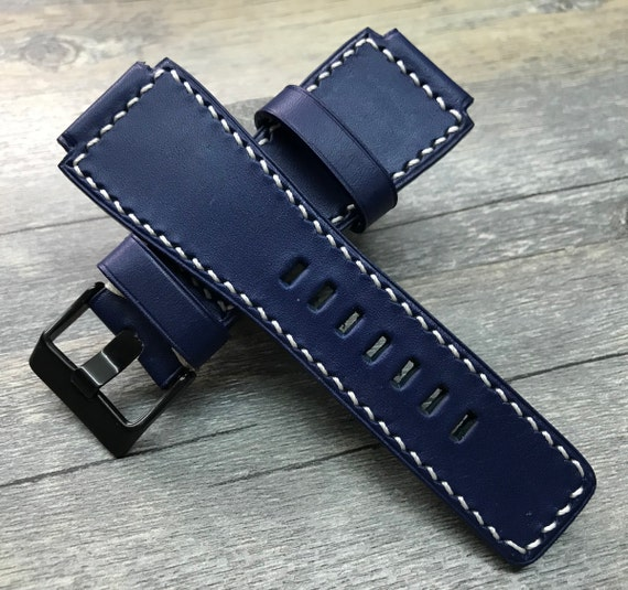 Leather watch strap, leather watch band, 24mm watch strap, Blue watch strap, 24mm watch band, watch band, FREE SHIPPING