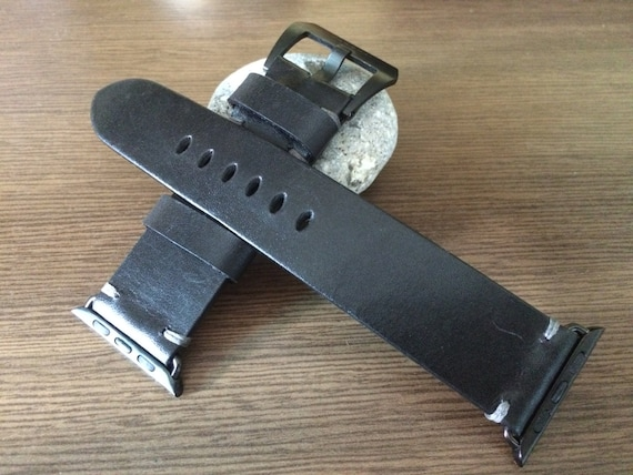 Black Apple Watch band, Apple Watch 44mm 40mm 42mm 38mm, Series 1 2 3 4, Leather Watch Straps, Watch band, iwatch, FREE SHIPPING