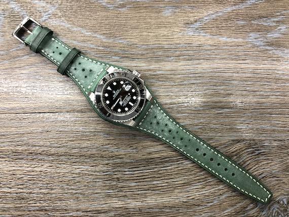 Brogue pattern Green Leather Full Bund Strap, Vintage Leather Watch Strap, 20mm Watch Strap, 19mm cuff watch band, Christmas Gift Idea