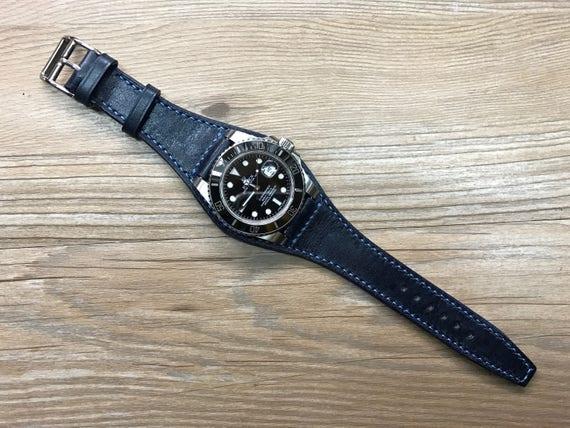 Leather watch band, Dark Blue Full bund strap, Handmade, Leather Cuff watch Strap 20mm, Racing Watch strap, Rally Watch Band, Cuff band