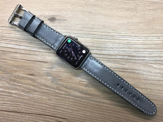 Personalized Apple Watch Band 44mm, Apple Watch Band Gray Leather 40mm, Custom Apple Watch Band Leather, Valentines Day Gift
