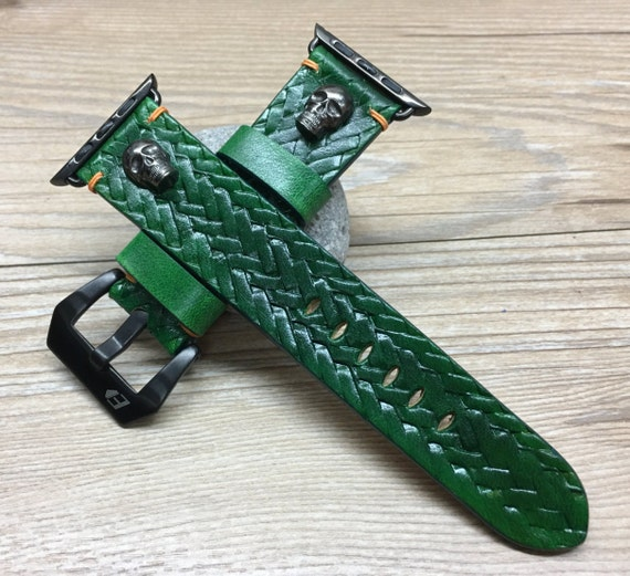 Apple Watch Bands | Apple Watch Strap | Leather Craving Art Watch Band | Craving Art Watch band w Bronze Skull For Apple Watch 38mm & 42mm