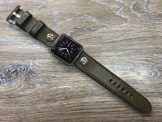 Apple Watch Band, Apple Watch 40mm, iwatch, Series 1 2 3 4, Leather Watch Band, Army Green Leather Watch strap, Apple watch 42mm, 44mm, 38mm