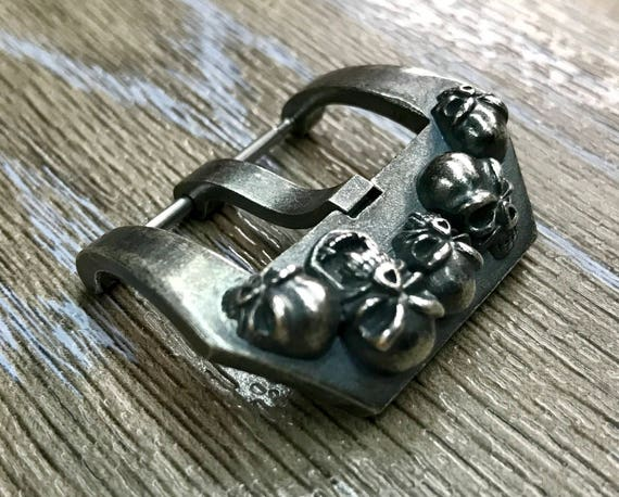 Watch Buckle, 925 Sterling Silver skull For Panerai or other Luxury Watch - fit for all 24mm buckle width watch, Free Shipping
