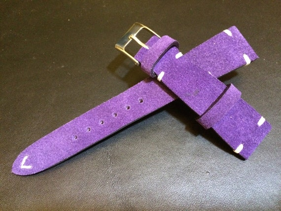 Leather watch band, Suede Leather, Leather watch strap, Purple watch band for 19mm, 20mm lug, Suede Purple, 16mm buckle, FREE SHIPPING