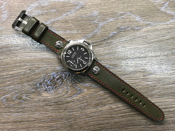 Leather Watch Band, 24mm straps, Army Green, Handmade, leather watch strap, 24mm watch band, 26mm strap, Red stitching, FREE SHIPPING