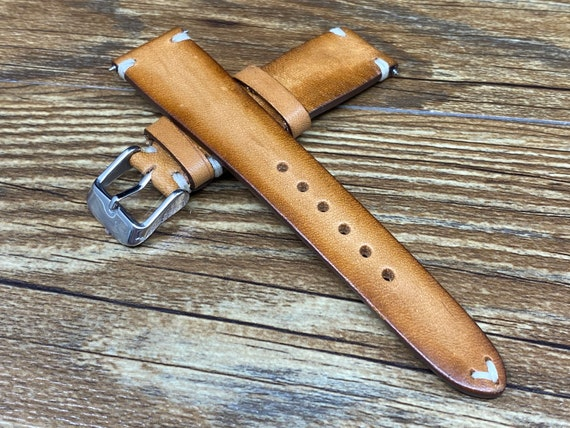 Leather Watch Straps 20mm,  Vintage Faded Leather Watch Straps, Mens Wrist Watch Band Replacement, 19mm Hand Stitched Watch Band, Gift Ideas