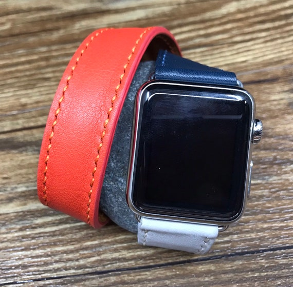 Apple Watch Band, Stainless steel case Indigo / Craie / Orange Swift leather Double Tour, Apple watch 40mm, 38mm Leather Watch Band