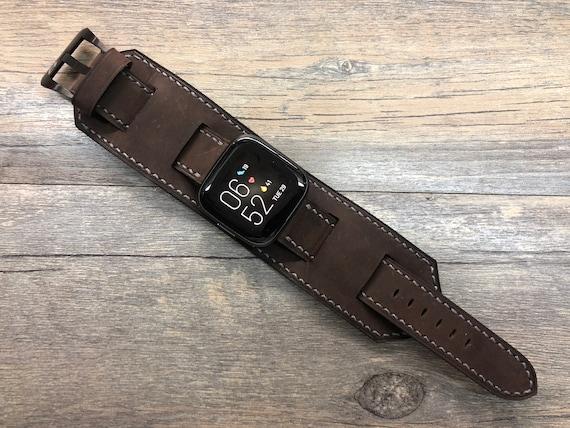 Fitbit Watch band, Versa 2, Lite, Watch Strap, Full Bund Strap, Leather Cuff Band, Brown leather Watch Strap
