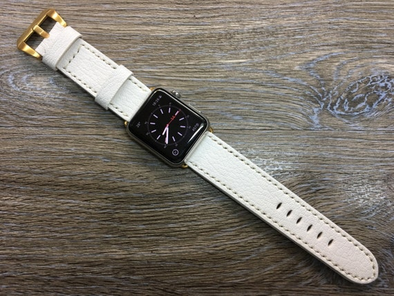Apple Watch Band, iWatch band, Apple Watch Band 40mm 44mm, Apple Watch leather Band in White color, White Stitching, Valentines day gift