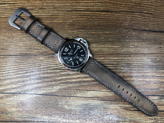 Vintage Outfit Beige 24mm Leather Watch Strap, Aging watch strap 26mm, Ageing Process Leather Watch Band, Retro Watch Straps, Gift ideas