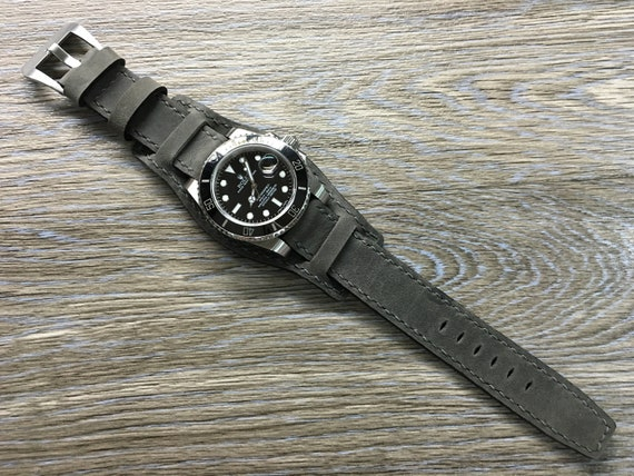 Leather Watch Band, Full Bund Strap, 20mm watch band, Cuff Band, Gray Watch Band, 19mm strap, 20mm strap, FREE SHIPPING, Fathers Day