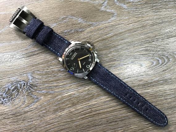 leather watch strap, Denim watch band, Denim watch strap, 26mm Blue watch band for men, 26mm watch strap, 24mm strap, watch band