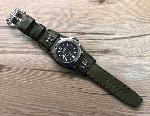Leather Watch band, Cuff Strap, Leather watch strap, Full bund strap, Cuff Watch band, Army green watch band, 24mm watch band, FREE SHIPPING