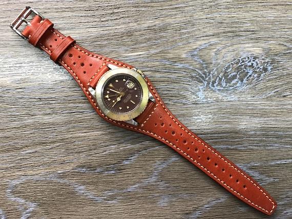 Full bund strap, Handmade Leather Cuff watch band, Leather Cuff watch Strap 20mm, leather watch band, orange leather band - Free Shipping