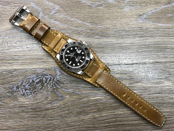 Shell Cordovan Leather Cuff watch strap | Cuff Band | Cuff Strap | Leather Cuff watch Strap for all luxury watch in 20mm