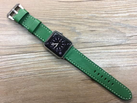 Personalized Apple Watch Band 44mm, Custom Apple Watch Band Leather, iWatch Series 5, Green Leather Watch Band, Valentines Day gift for him