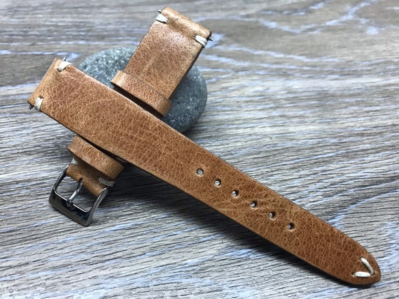 20mm watch strap, Leather Watch Strap, Leather Watch Band, Vintage watch strap, Blue watch band, 19mm watch band, 18mm watch strap