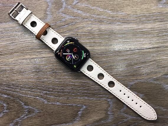 Apple Watch Band, Single Tour Rallye, Apple Watch 40mm 38mm, Leather Watch Band, Apple Watch 44mm, 42mm, Apple Watch Strap, white, iwatch