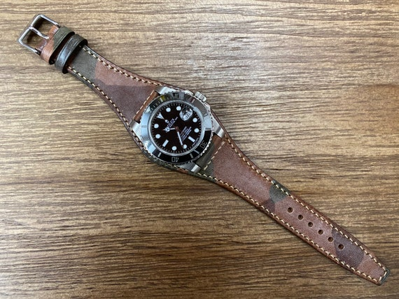 Brown Ghost Camouflage leather watch strap, Men watch band 20mm, 19mm cuff watch strap, Personalise gift ideas, genuine leather