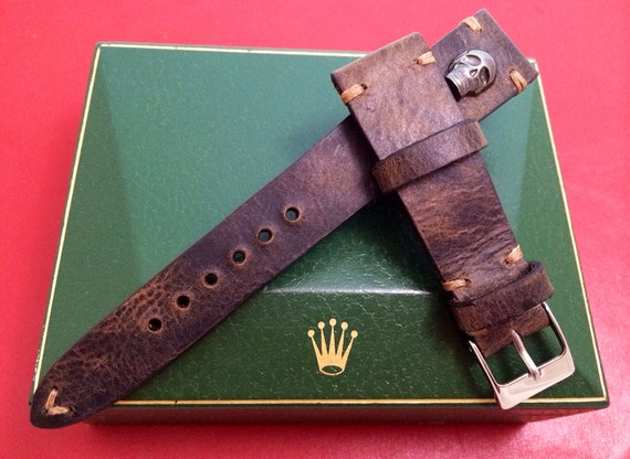 Leather watch band, Dark brown, leather watch strap, watch band, Leather Strap, Skull metal pin, for 19mm, 20mm lug, Free Shipping