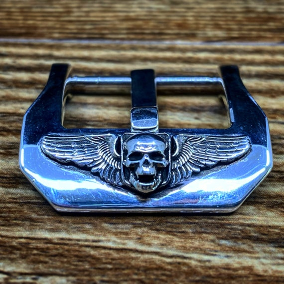 Sterling Silver Watch Buckle 22mm, 24mm, 20mm 925 Watch Buckle with Skull for Leather Watch straps, Gift Ideas for Watch Lover