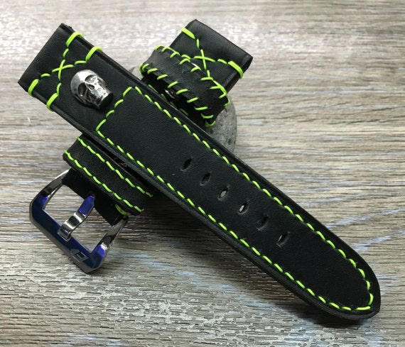 Leather Watch Strap 24mm, 26mm Black Genuine Leather Watch Band, Wrist Watchband, Gift Idea for Husband, Sterling Silver 925 Skull