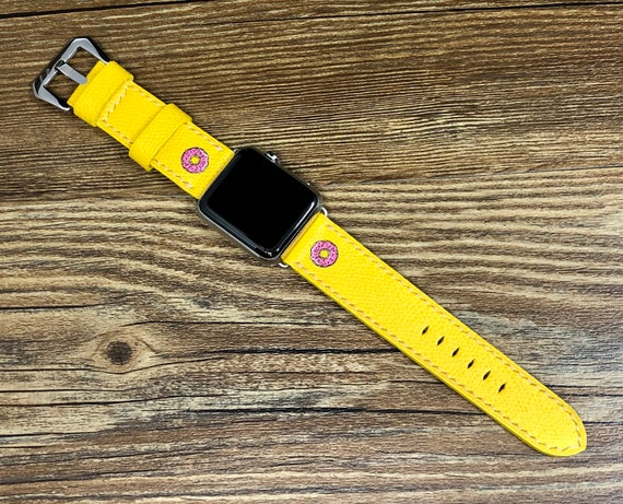 Apple Watch Bands donut logo, Apple Watch Series 6, Yellow Apple Watch Band for 44mm, 40mm, Product Red iWatch Band, personalise Gift Ideas