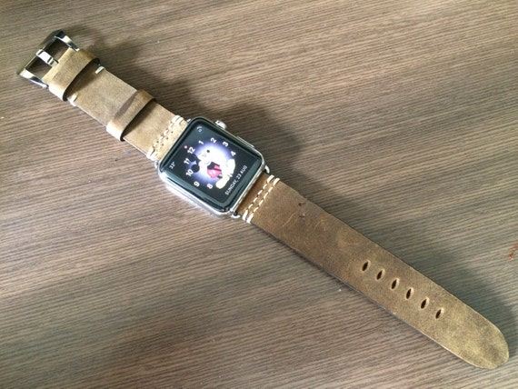 Apple Watch Series 6 Space Gray Watch Band, Brown Vintage Leather Watch Straps for Apple Watch 40mm 44mm, Personalise Valentines Gift Ideas