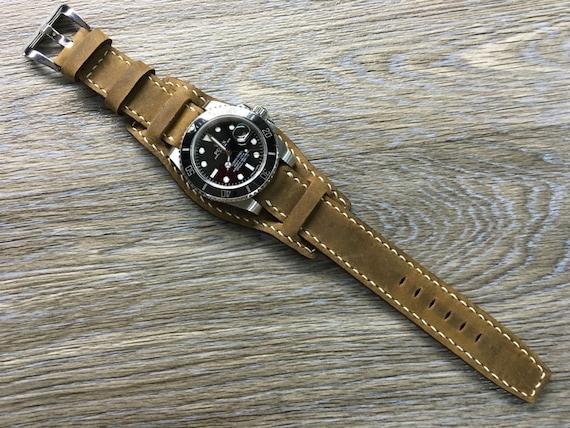 Real Leather cuff strap | Leather Cuff watch band | Cuff Band | Cuff Strap | Leather Cuff watch Strap for all luxury watch in 20mm/19mm lug