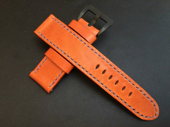Handmade, leather Watch Band, 24mm watch band, 26mm watch strap, Orange leather watch Strap for Luxury watch 24mm/22mm - fit for Panerai