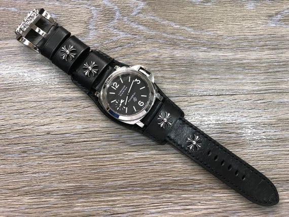 Full bund strap, Leather Watch band, Cuff Strap, Leather watch strap, Cuff Watch band, Black, 24mm, Cuff band, FREE SHIPPING