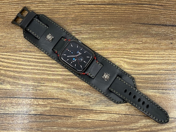 Black Leather Apple Watch Band, Bulldog Sterling Silver iWatch Band Series 6 44mm 42mm, Personalise Watch Straps Valentines Day Gift Idea