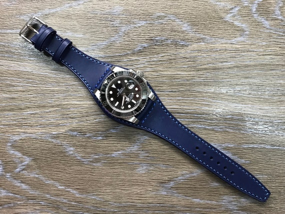 leather watch band, blue watch band, Full bund strap, 20mm watch strap, 20mm strap, cuff watch band, leather watch strap, FREE SHIPPING