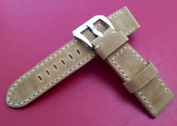 Handmade leather watch band, Leather Watch Strap, 24mm watch strap, vintage watch band, PVD Buckle watch strap for luxury watch w 24mm lug