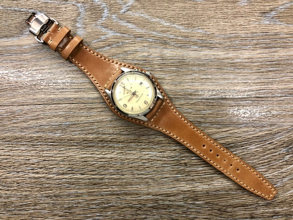Shell Cordovan Full bund Leather Watch straps, Leather watch band 20mm 19mm, Horween Leather Natural Cuff Band, Men wrist watch bands