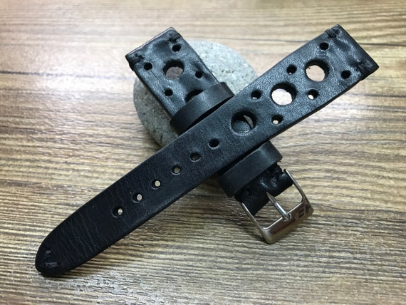 Rally Watch strap, Leather watch band, Black watch band, Racing watch band, 20mm strap, 20mm watch band, 19mm watch strap, FREE SHIPPINg