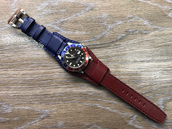 Leather Watch Straps, leather Bund Strap, watch strap 20mm, GMT Watch Strap, Blue/Red Watch Band, watch band 20mm, FREE SHIPPING