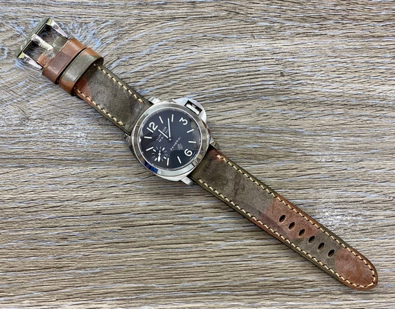 Genuine Leather Watch Strap, Brown Leather Watch Strap, 24mm Watch Band Handmade, Camouflage Leather Watch Band for Men Leather Gift for Him