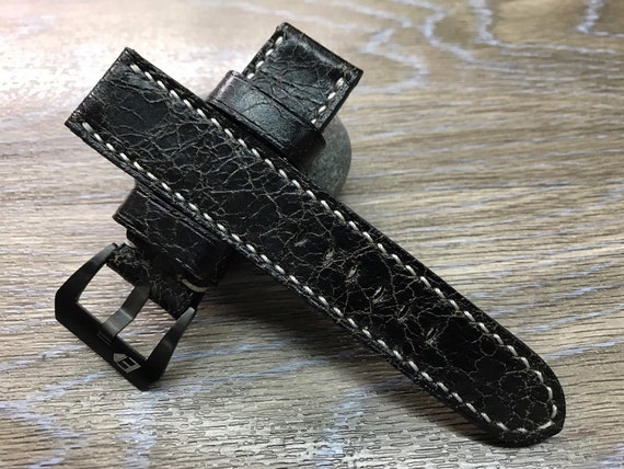 24mm straps, distress Black leather watch strap, 24mm leather watch band, watch strap for Panerai, 24mm, 26mm, Cream White Stitching