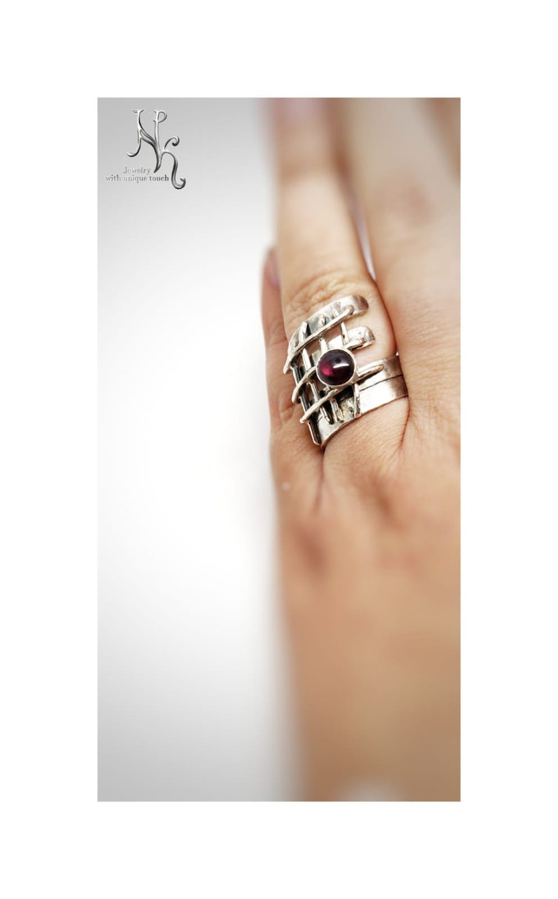 Handcrafted One of a Kind Sterling Silver Ring with Burgundy Garnet OOAK Jailed Garnet Sterling Silver Ring Freedom of the Spirit Symbol