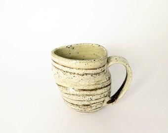 Pottery coffee mug, Ceramic and porcelain mug, Handmade clay cup, Large stoneware tea mug, Potters wheel mug