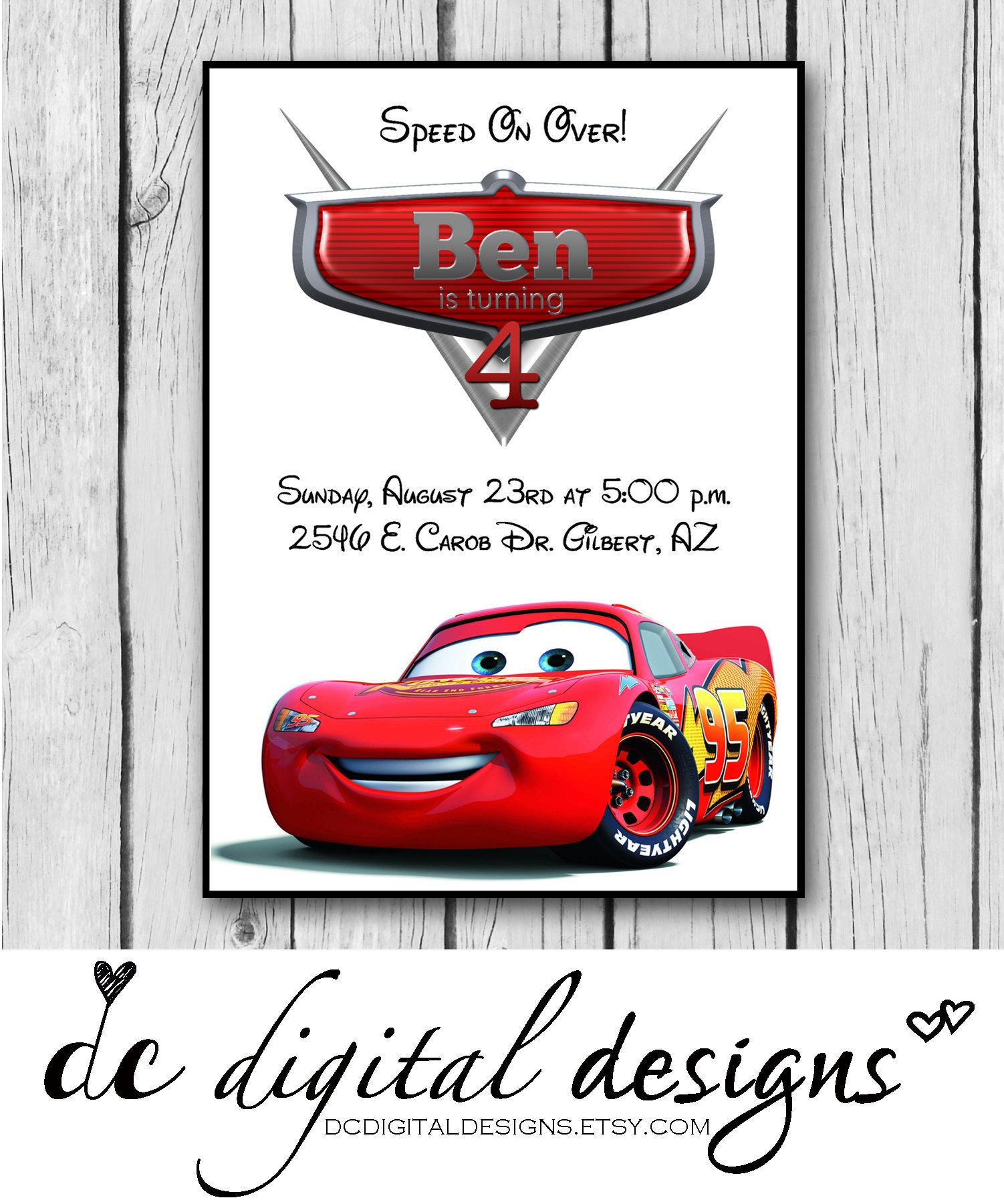 CARS Girl or Boy Birthday Party Invitation Disney Boy | Etsy