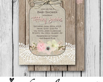 Girl Baby Shower Invitation, Burlap and Lace, Mason Jar, Flowers, Vintage, Pink, Wood - Bridal Shower / Birthday - Digital and Printed