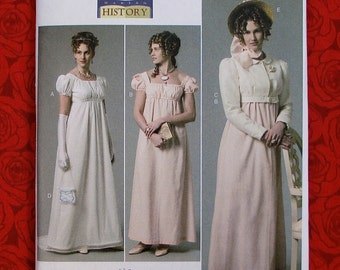 B6074 Sewing Pattern Historical Dress Jacket French Revolution Regency Hat Bag