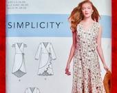 Simplicity Sewing Pattern 8637, Wrap Tie Dress, Ruffle Flounce Hem, Sizes 16 18 20 22 24, Romantic Summer Fall Fashion Sportswear, UNCUT